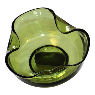 Mid Century Vintage Anchor Hocking Dip Green Bowl For Sale