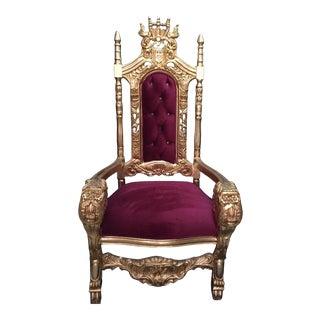 Burgundy Velvet Tufted Throne Chair For Sale