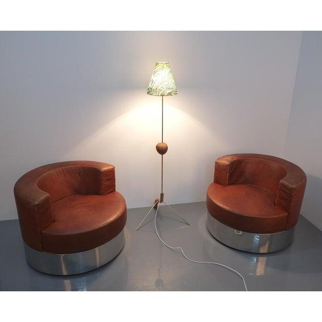 Coconut Brass Bamboo Floor Lamp Attr. Kalmar, Austria 1950 For Sale - Image 10 of 11