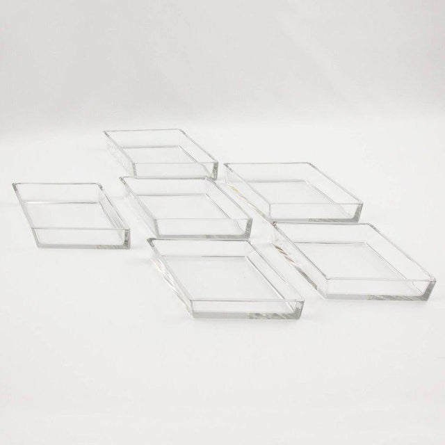 Transparent French Art Deco Cocktail Set Barware Mirror Serving Tray and Dishes For Sale - Image 8 of 10