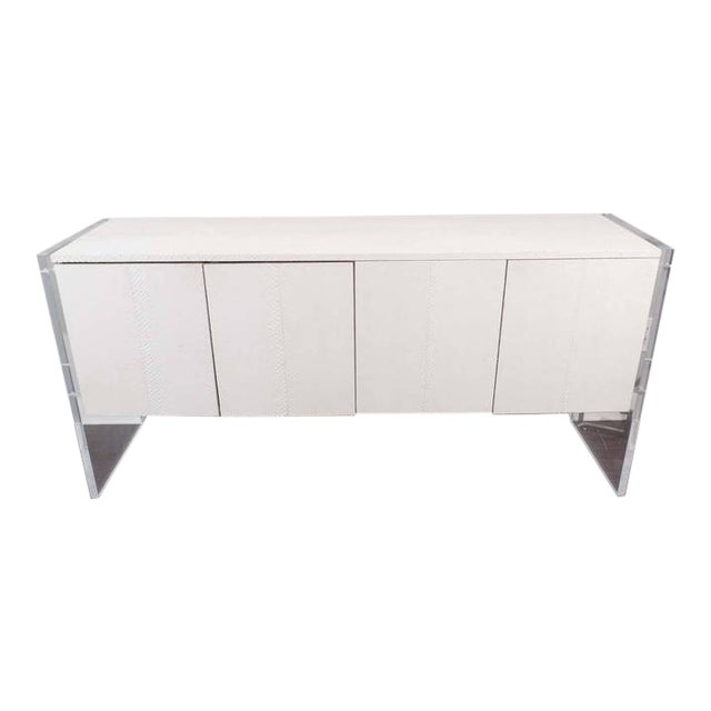 White Python Sideboard with Lucite Side Panels For Sale
