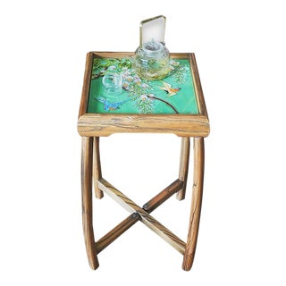 Rustic Elm Wood Porcelain Tea Table For Sale