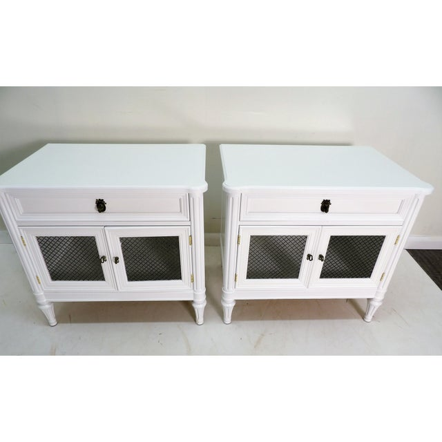 Henredon French Regency Style White Finished Nightstands - a Pair For Sale In West Palm - Image 6 of 7