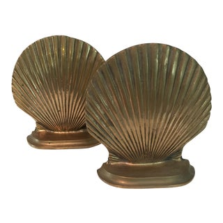 Art Deco Brass Seashell Bookends - A Pair