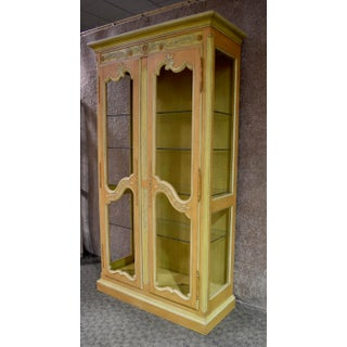 Vintage Country French Style Carved & Painted Two Door Curio Cabinet Preview