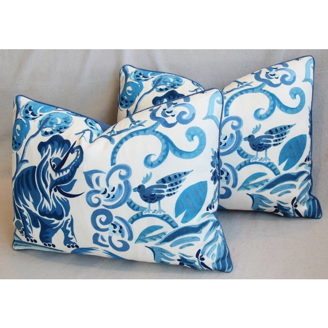 """P. Kaufmann Blue & White Animal Feather/Down Pillows 22"""" X 16"""" - Pair For Sale - Image 9 of 13"""