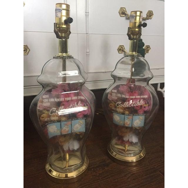 Set of 2 Vintage Glass Fillable Ginger Jar Lamps - Image 4 of 10