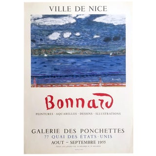 Pierre Bonnard Rare Vintage 1955 Mourlot Lithograph Print Collector's Post Impressionist French Exhibition Poster For Sale