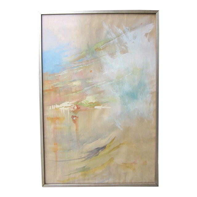 Vintage Mid-Century Abstract Soft Pastel on Paper Signed & Framed Painting For Sale