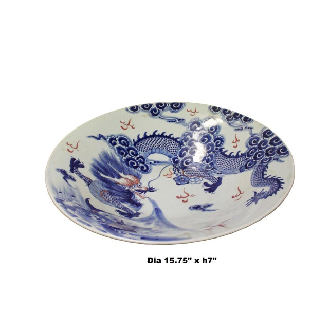 Asian Chinese Blue White Dragon Painting Porcelain Charger Plate Bowl For Sale - Image 3 of 9