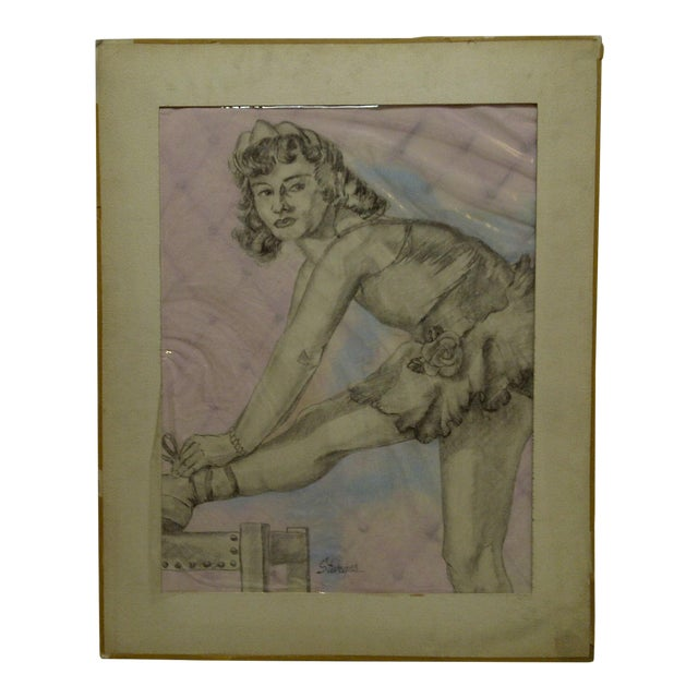 "Tom Sturges Jr. ""Curtain Time"" Original Matted Drawing For Sale"