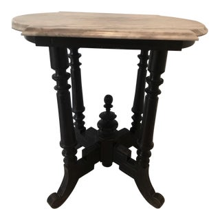 1900s British Colonial Wood and Carrara Marble Side Table For Sale