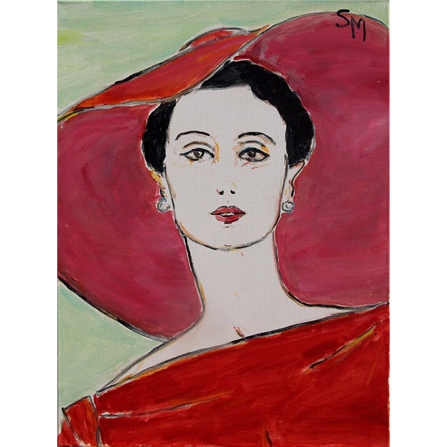 "Scarlet Sarah Myers ""The Red Dress"" Contemporary Acrylic Painting For Sale - Image 8 of 8"