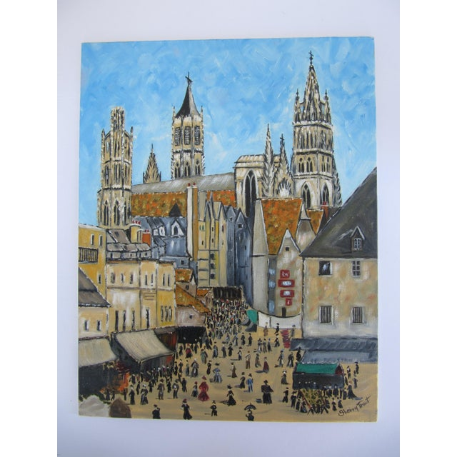 Paint Vintage Painting of European Cathedral For Sale - Image 7 of 7