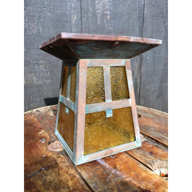 Vintage Outdoor Copper Light Fixture, circa1920s. We love this copper and amber glass sconce/housing; the patina is...