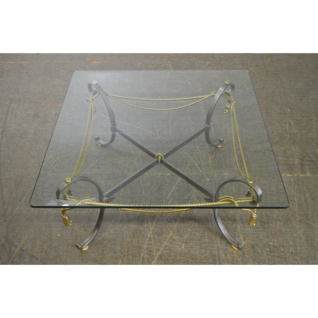 LaBarge Brushed Steel & Brass Rope Tassel Square Glass Top Coffee Table - Image 2 of 10