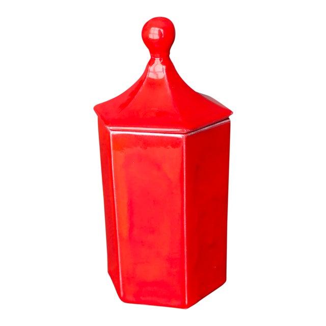 Vintage Red Ceramic Canister - Image 1 of 8