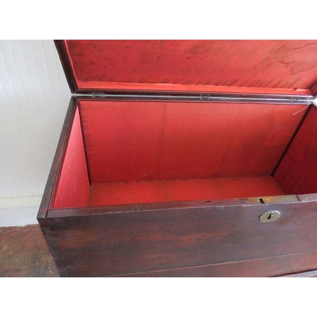 English Antique 1930s Mahogany Trunk For Sale - Image 3 of 4