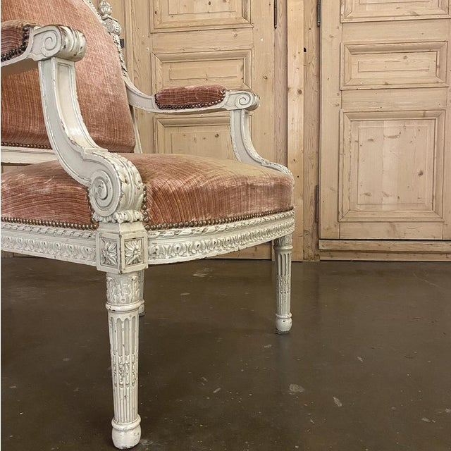 Pair 19th Century French Louis XVI Painted Armchairs ~ Fauteuils For Sale - Image 12 of 13