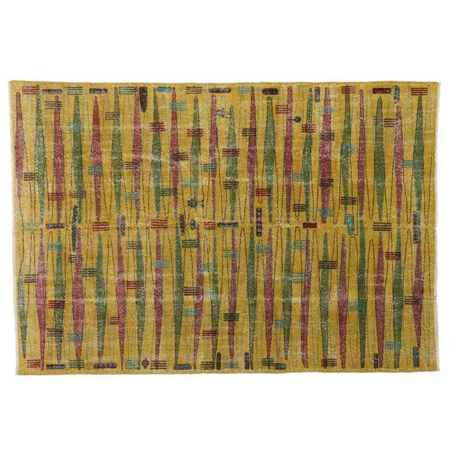 Textile Zeki Müren Turkish Contemporary Vintage Rug with Art Deco Style For Sale - Image 7 of 8