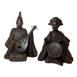 1940s Vintage Chinese Bronze Seated Musician Sculptures - a Pair For Sale