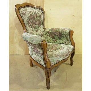 French Provincial Floral Needlepoint Tapestry Bergere Preview