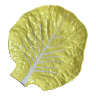 Vintage Portuguese Yellow Cabbage Platter For Sale