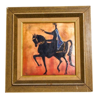 Enamel Art Modern Majestic King on Regal Horse, Holland For Sale