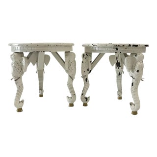 1970s Anglo-Indian White Wood Elephant Tables - a Pair