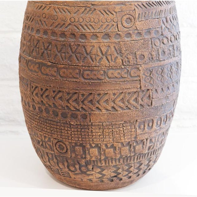 Ceramic Incised Pottery Lamp For Sale - Image 7 of 8