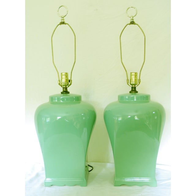 Vintage Celadon Asian-Style Lamps - A Pair - Image 4 of 4