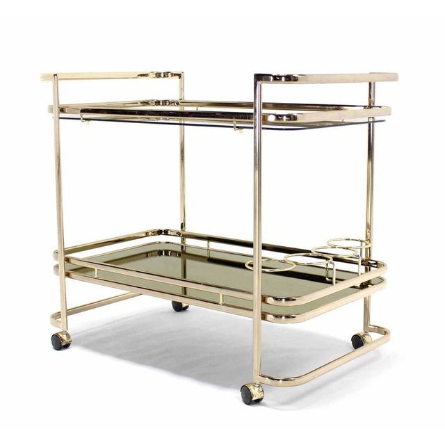 Gold Smoked Glass Gold or Brass Finish Tea or Bar Italian Cart For Sale - Image 8 of 8
