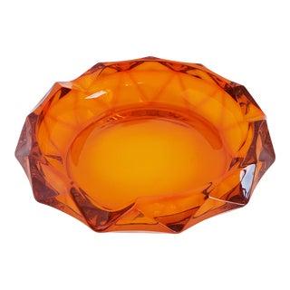 Mid Century Modern Orange Persimmon Viking Glass Ashtray For Sale