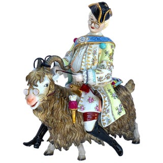 Dresden Figure of Count Bruhl's Tailor Astride a Goat For Sale