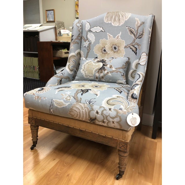Modern Farmhouse Chair in Celerie Kimball for Schumacher Fabric Upholstery For Sale In Boston - Image 6 of 6
