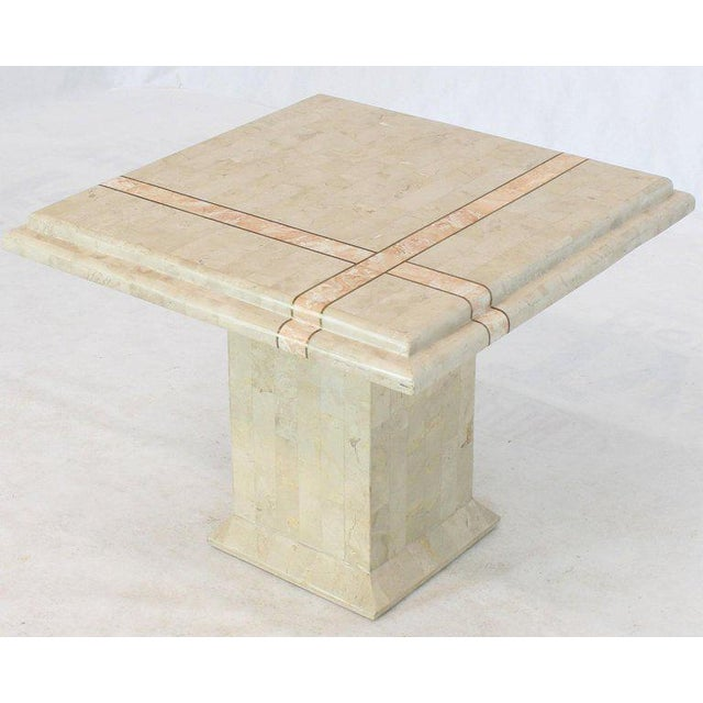 Off-white Pair of Tessellated Stone Tile Square Pedestal Shape End Side Tables Stands - a Pair For Sale - Image 8 of 11
