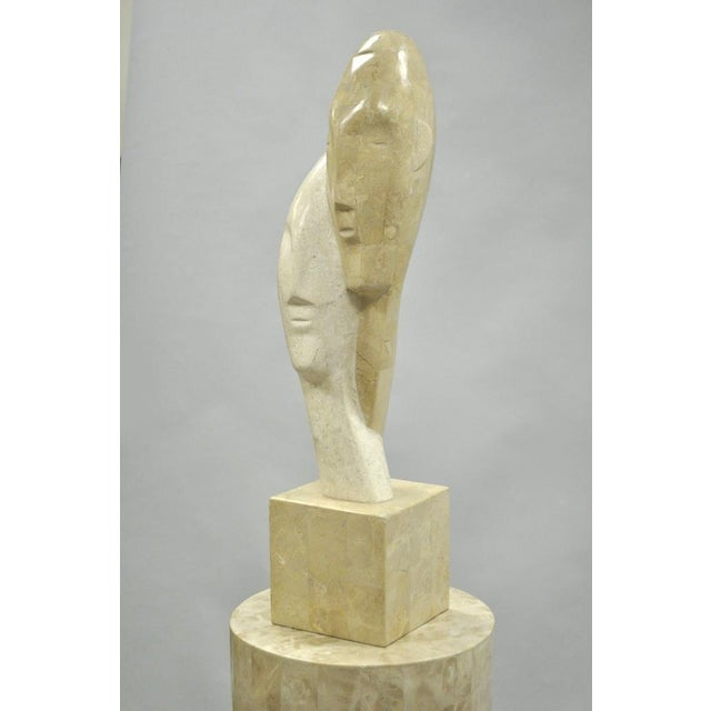 Marquis Collection Beverly Hills Snuggling Couple Fossil Ivory Stone Sculpture For Sale - Image 5 of 11