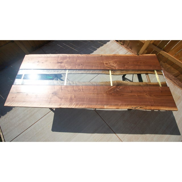 Brown Claro Walnut Slab Dining Table With Solid Brass Inlays + Glass River Center Display For Sale - Image 8 of 11