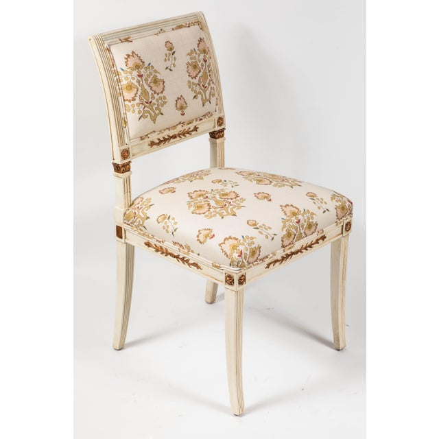 French Dining Chairs Newly Upholstered in Penny Morrison 100% Linen - Set of 6 For Sale - Image 3 of 13
