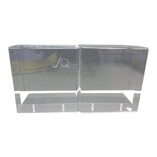 Mid Century Modern Lindahl Designs Clear Lucite With Golf Club Ball Design Bookends - A Pair For Sale
