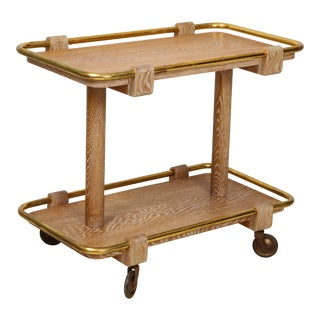 Mid Century Cerused Oak Bar Cart With Brass Mountings For Sale