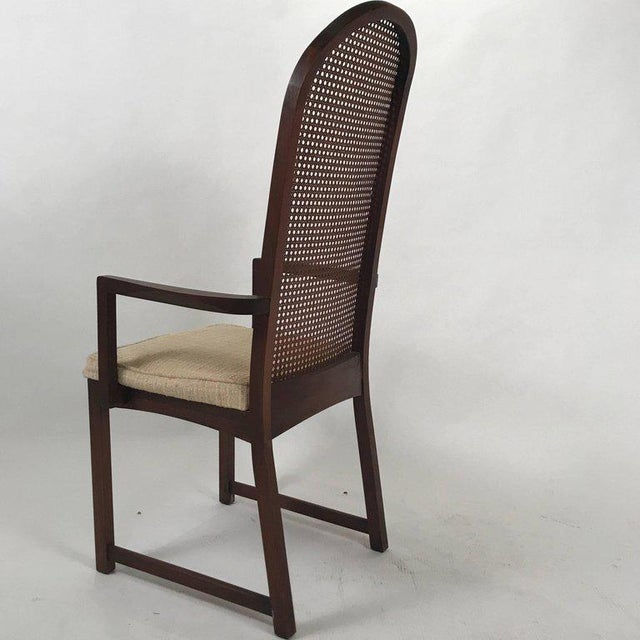 Set of six Milo Baughman high back dining chairs. Sleek high back chairs with upholstered seats. Set includes four side...
