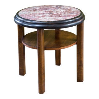 French Round Mahogany Art Deco Side Table with Red Marble Top, circa 1920