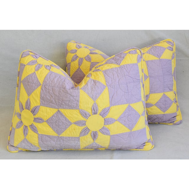 """Boho Chic Farmhouse Americana Patchwork Feather/Down Pillows 24"""" X 18"""" - Pair For Sale - Image 13 of 13"""