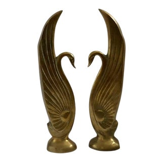1960s Art Deco Brass Swan Bookends - a Pair For Sale