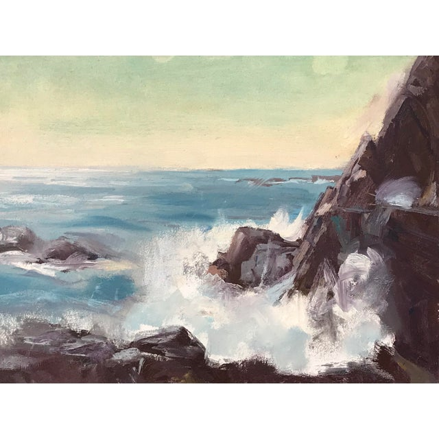Vintage American Impressionist Oil Painting Seascape by Harry Barton For Sale In New York - Image 6 of 9
