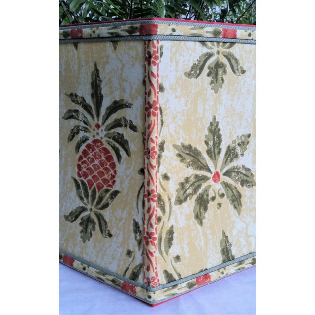 Not Yet Made - Made To Order Vintage Pineapple Greeff Fabric Mustard Olive Green and Coral Lampshade For Sale - Image 5 of 11