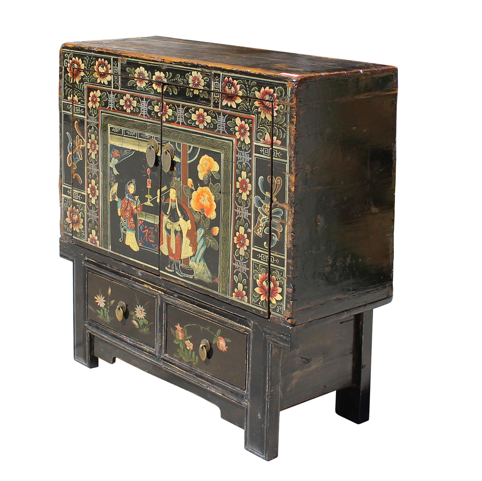 Vintage Chinese Black Oriental Cabinet   Image 4 Of 7