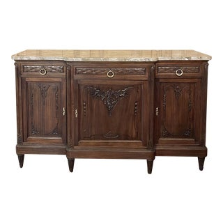 Antique French Louis XVI Mahogany Marble Top Buffet For Sale
