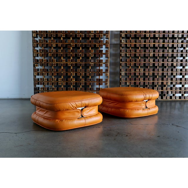 Metal I4 Mariani Leather Ottomans, 1975 - a Pair For Sale - Image 7 of 7